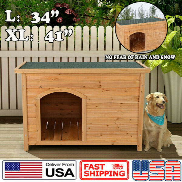 Wood Dog House Extra Large Dog Big Pet Doghouse Kennel Indoor Outdoor Waterproof $113.99