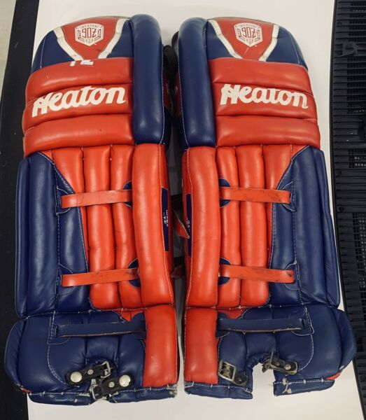Vintage Heaton Pro 90Z Goalie Hockey Pads 31quot; Red amp; Blue Used $225.00