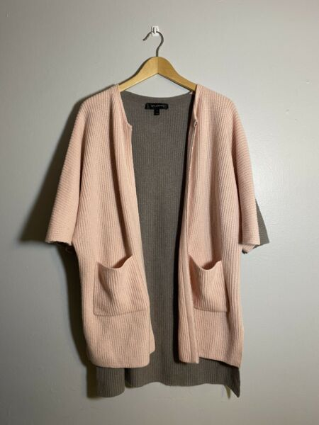 St. John 100% Cashmere Two Tone Pocket Open High Low Cardigan Women Size Small