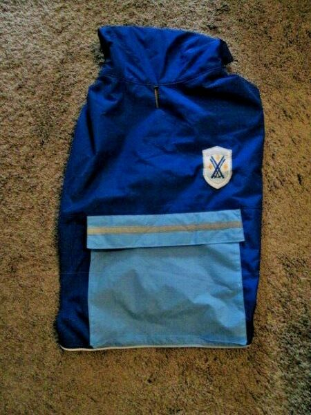 OLD NAVY DOG SUPPLY Unisex Blue Fully Lined Hood Raincoat Large 20quot; 22quot; NEW $12.99