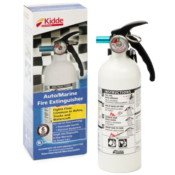 Fire Extinguisher Home Car Office Safety Kidde 5 B:C 3 lb Disposable Marine