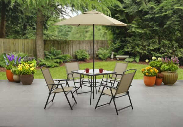 Outdoor Patio Dining Set Furniture Backyard with Table 4 Chairs Umbrella Tan