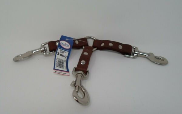 #145 3 DOG LEATHER COUPLER $9.00