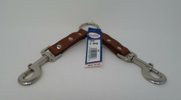#144 2 DOG LEATHER COUPLER $7.00