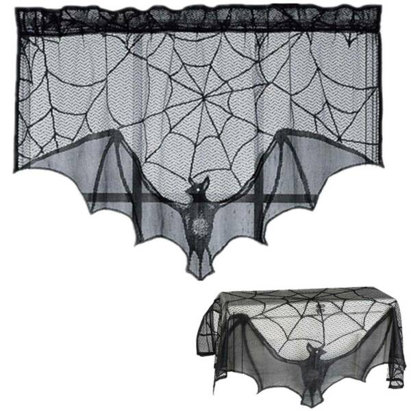 Halloween Fireplace Curtain Spider Web Cobweb Bat Lace Net Home Party Prop Decor