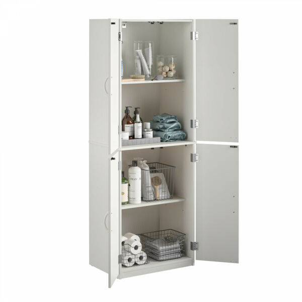 White Kitchen Pantry or Bathroom Storage Organizer Tall Wood Cabinet W Shelves
