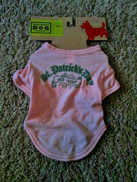 OLD NAVY DOG SUPPLY 100% Pink Green St Patrick#x27;s Day 2009 Tee XS 9quot; 10quot; NEW $6.50