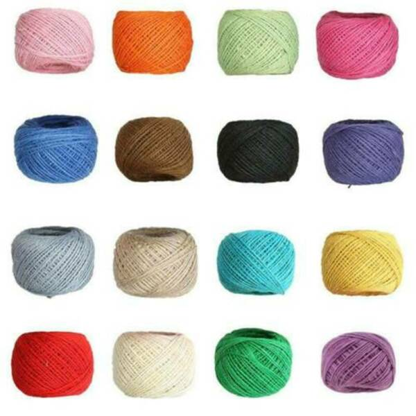 50M 3ply Burlap Natural Fiber Jute Twine Rope Cord String Craft Decors Ribbon US