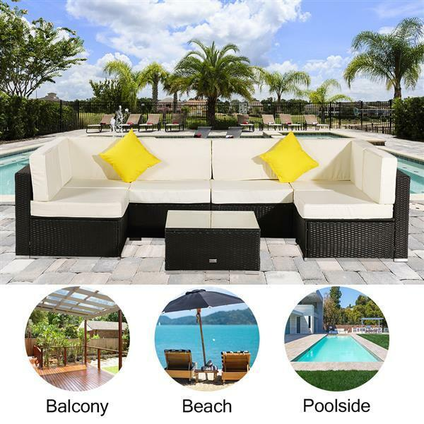 7pcs Outdoor Patio Sectional Furniture Wicker Rattan Sofa Couch Set Garden Yard