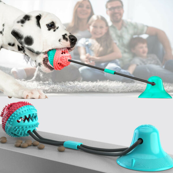 Pet Molar Bite Toy Dog Tug Rope Ball Chew Toys Pet Tooth Cleaning Suction Cup $12.08