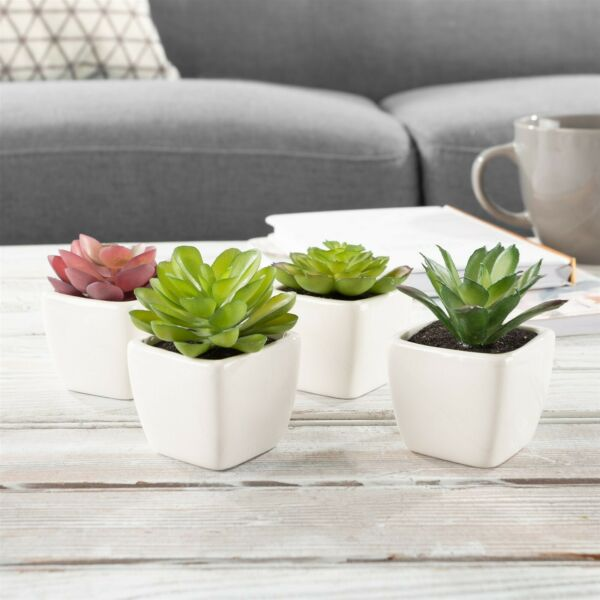 Set of 4 Small Fake Succulent Flowers Indoor Fake House Plants 2.5 Inch Decor