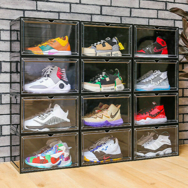 Magnetic Shoe Storage Box Drop Side Front Sneaker Case Stackable Container XL $18.95