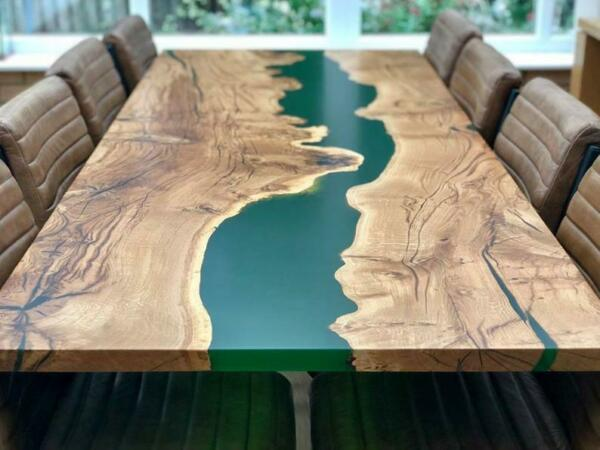 Epoxy resin Dining Table Top in Acacia Wood quot;78x42inchquot; in 35MM with Iron Legs $2290.00