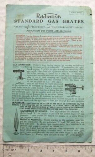 1930 instructions Radiation Standard Gas Grates