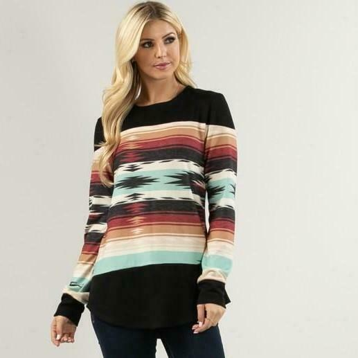 Tribal Print Brushed Top $24.99
