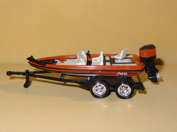 BASS FISHING BOAT WITH TRAILER 1 64 SCALE DIECAST REPLICA DIORAMA MODEL W20 $12.99