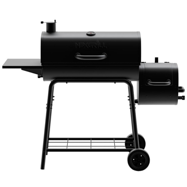 Nexgrill Barrel Charcoal Grill Smoker 29 in. Steel Wire Cooking Grids Black