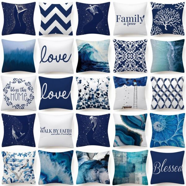 Throw PILLOW COVER Blue White Decorative Double Sided Soft Cushion Case 18x18quot; $7.86