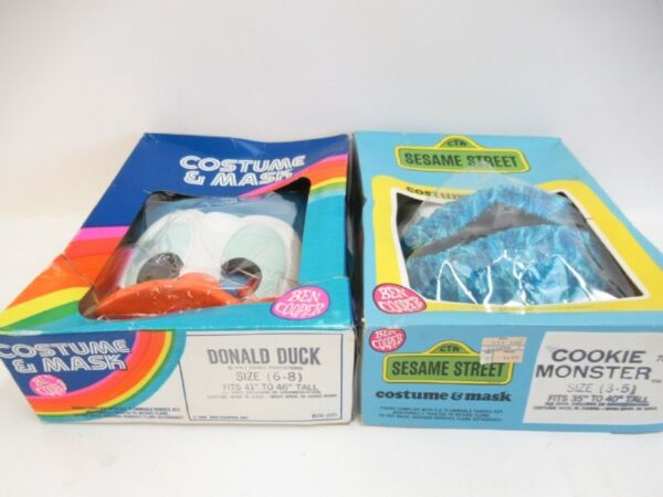 DONALD DUCK AND COOKIE MONSTER COSTUMES WITH BOXES 1980#x27;s VINTAGE $74.99