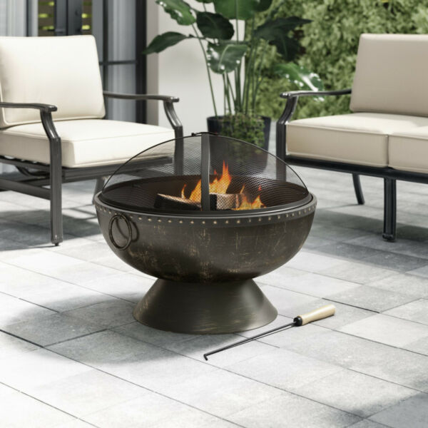 Metal Outdoor Fire Pit Bowl Fireplace Mesh Cover Backyard Patio Wood Burning 30quot;