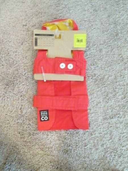OLD NAVY DOG SUPPLY Unisex Red Vinyl Attached Hood Raincoat XS 11quot; 13quot; NEW $9.99