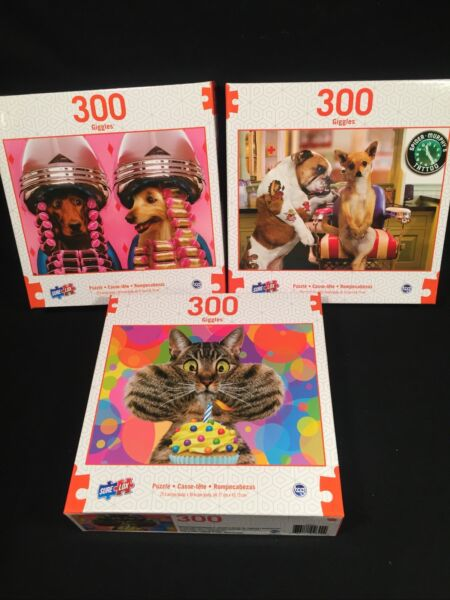 NEW LOT 3 Funny DOGS CAT 300 Large Format pieces jigsaw puzzles $23.99