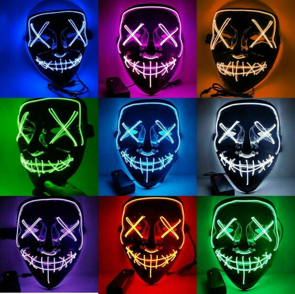 Halloween Led Light Up Scary Mask EL Wire Mask Cosplay Adjustable 3 Modes Purge