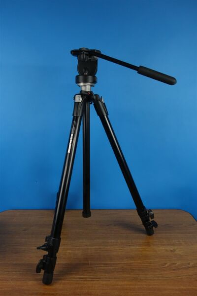 Manfrotto 055XDB Tripod 128LP Fluid Head Video Photo Tripod