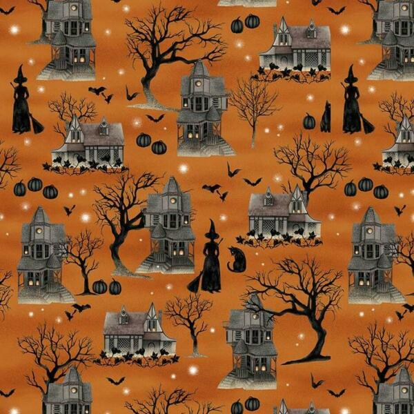 1 2 Yard The Witching Hour Haunted House by Studio E. 100% Cotton Fabric