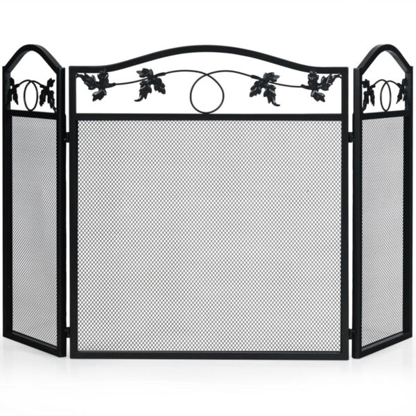 Gymax 3 Panel Foldable Steel Fireplace Screen Spark Guard Fence For Baby amp; Pet