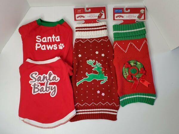4 Dog Christmas Sweaters amp; Shirts 2 Sizes Red Green Santa Wreath Bells $11.99