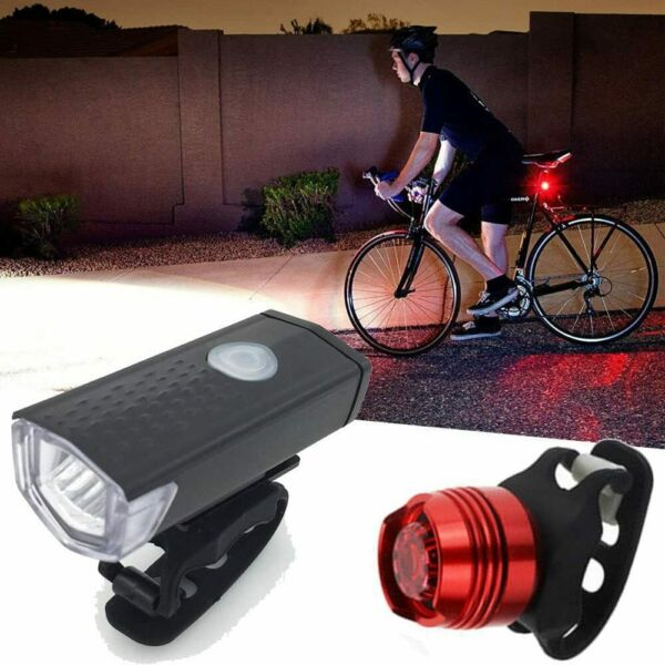 Bike Lights Set 12LED USB Rechargeable Headlight Taillight Caution Bicycle Light $9.99