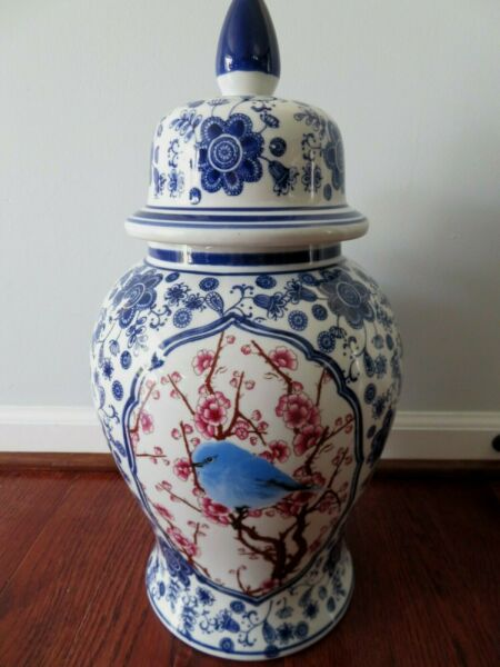 NEW Large CHINOISERIE Bird LIDDED GINGER JAR Blue White 19quot; Tall ASIAN $120.00