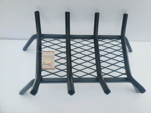 18 in. Wood Fireplace Grate w Ember Lava Mesh Retainer Heavy Duty Steel Bars