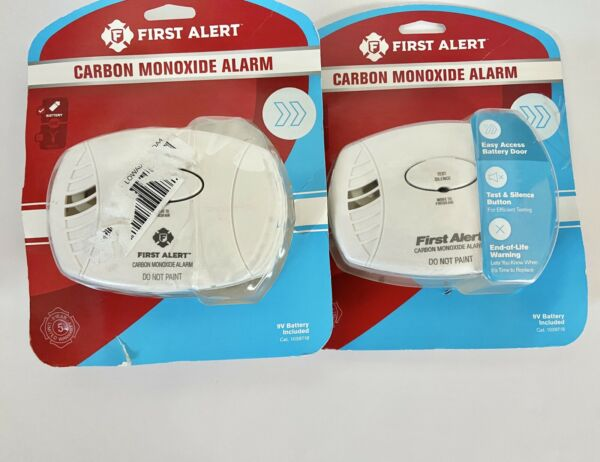 2 Open Box First Alert Carbon Monoxide Alarm Battery Operated 9V Included $27.99