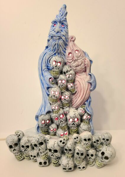 Vintage Unique Halloween Gothic Ceramic Ghost w Collection Light Up Skull Heads $799.95