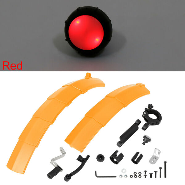 26 Inch Adjustable Front Rear Retractable Bike Fender Set with Taillight Orange $20.99