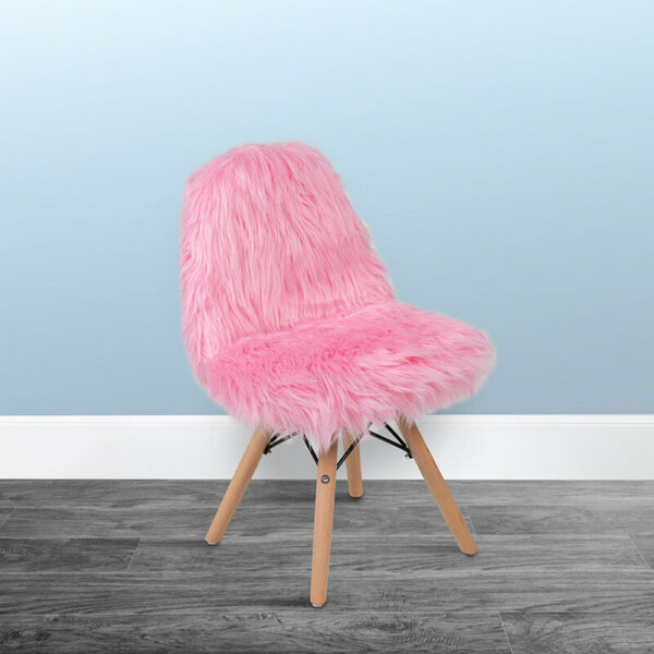 Kids Light Pink or White Shaggy Dog Fluffy Furry Fuzzy Bedroom Accent Desk Chair $79.97