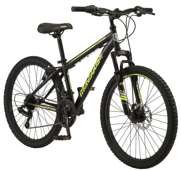 Boys Mountain Bike Mongoose Excursion 24 inch Wheel 21 Speeds Gray Alloy Rims $190.87