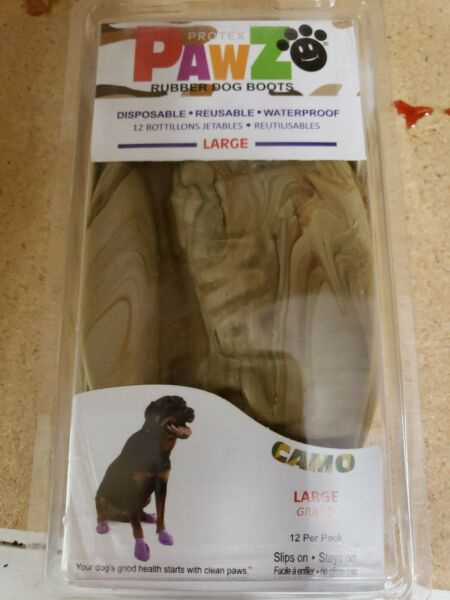 NEW PawZ Rubber Dog Boots Reusable Disposable Waterproof 12 Pack in Camo large $6.00