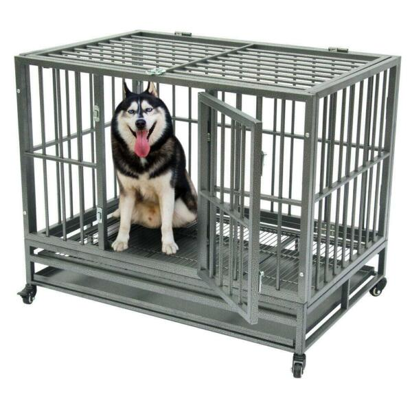 36quot; Heavy Duty Dog Cage Crate Kennel Metal Pet Playpen Portable with Tray Sliver