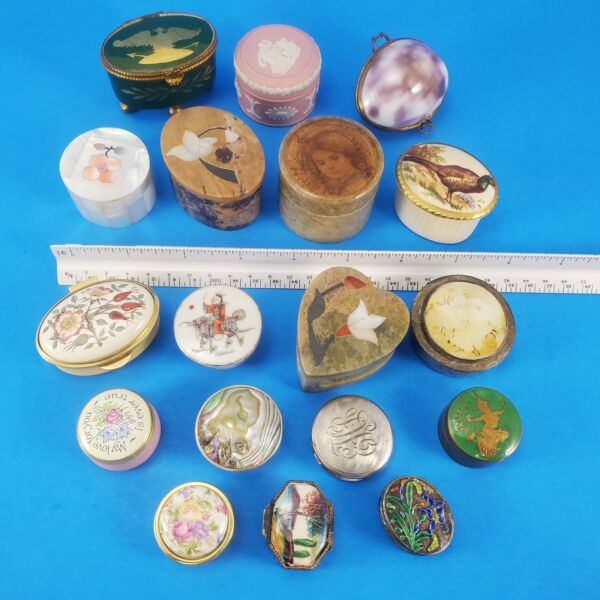 Small Lidded Vintage Boxes Mixed Lot Pill Hinged Stone Ceramic Shell Metal