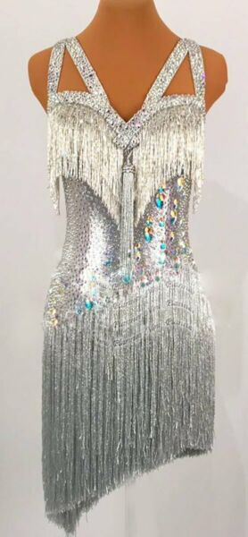 L2244 ballroom Specialty Adult Rhythm Latin samba dance dress UK10 US 8 silver