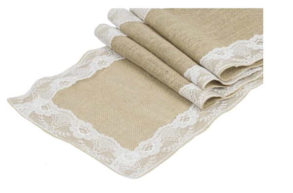 NIP RUSTIC BURLAP AND WHITE LACE TABLE RUNNER