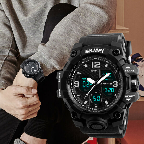 SANDA Men#x27;s Army Military Sport Dual Time Alarm Waterproof Digital Analog Watch