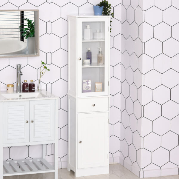 Organizer Restroom Tower Tall Pantry Tower with Multi Tier Shelving White