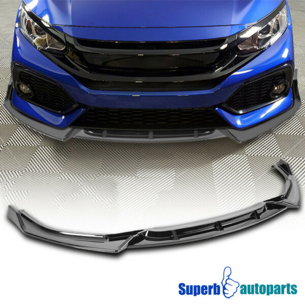 For 2019 2020 Honda Civic Sedan Glossy Black Front Bumper Lip Lower Spoiler Kit