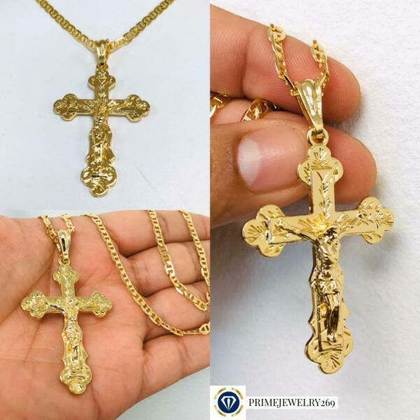 14K Gold Filled Cross Necklace New Design with Diamond Cut 24quot; Crucifix Pendant $44.99