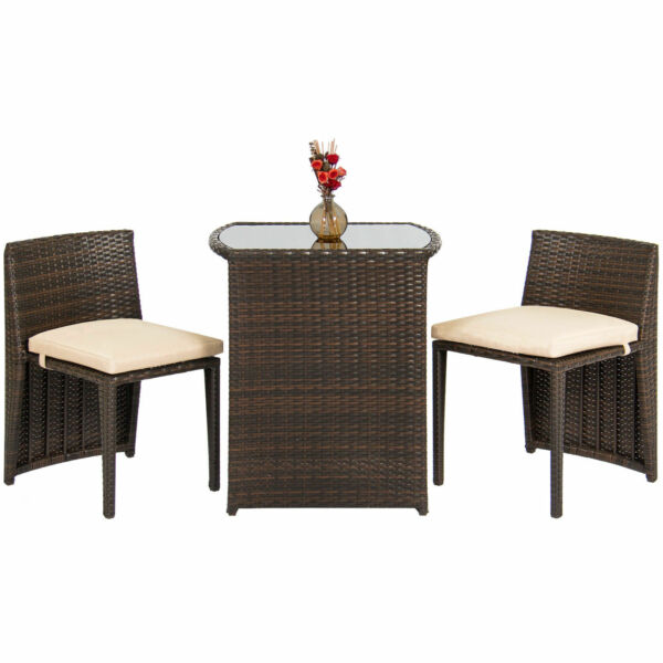 Outdoor Patio Furniture Wicker 3pc Bistro Set Glass Top Table 2 Chairs Brown $39.99