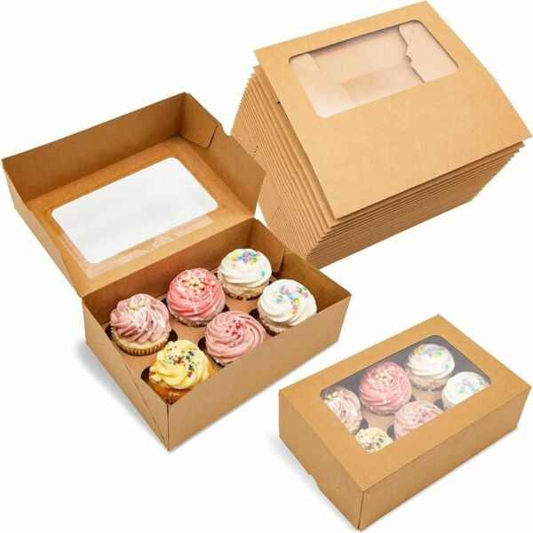24x Kraft Paper Cupcake Boxes with 6 Inserts Muffin Cookie Party Gift Containers